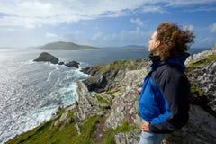 Man on cliffs Stock Photos