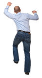 Man climb. Businessman in climb pose isolated on white background royalty free stock photography