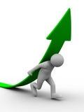 Man climb green arrow. Isolated 3D image Royalty Free Stock Photos