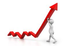 Man climb growth arrow. 3d illustration of Man climb growth arrow Stock Photo