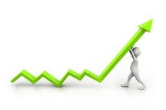 Man climb growth arrow. 3d illustration of Man climb growth arrow Stock Photos