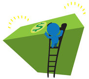 Man Climb Ladder Deposit Saving Money Illustration. A blue puppet climbing a ladder to count a stack of money notes Royalty Free Stock Photography