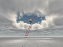 Man climb a ladder to a hole in the sky. This is a 3d render illustration Stock Photography