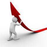 Man climb red arrow. Isolated 3D image Royalty Free Stock Photo