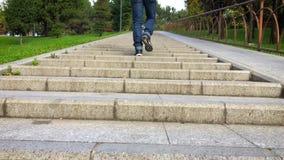 Man climb stairs 4K video stock video