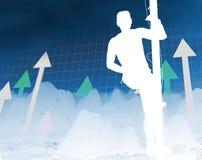 Man climb the way of success. Metaphoric abstract image, man climb the way of success stock illustration