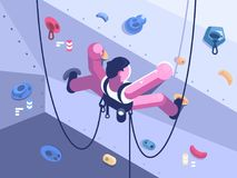 Man climber climbs difficult route. On artificial wall in competitions. Vector illustration Stock Image