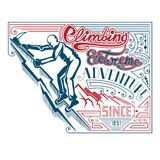Man climbing with ax vintage label Stock Images