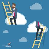 Man climbing  through clouds in the sky. Ladders to the clouds vector template. Man climbing  through clouds in the sky. Vector template for banner Stock Image