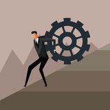 Man climbing gear growth business design Stock Photos