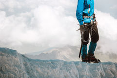 Man climbing on glacier to mountain summit Travel Royalty Free Stock Image