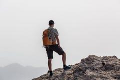 Man climbing hiking inspiration landscape, travel concept Royalty Free Stock Image