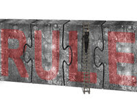 Man climbing ladder puzzles concrete wall red rule word Stock Image