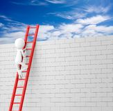 Man Climbing the Ladder to Sky. 3D Rendering Image Royalty Free Stock Photos