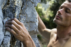 Man climbing on limestone Royalty Free Stock Image