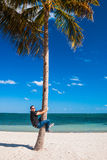 Man climbing a palm tree. Young man with sunglasses climbing a Palm tree on the beach. Stunning blue sky in a sunny day - Miami Beach, USA 12/2010 stock photo