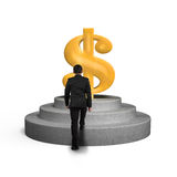 Man climbing on podium toward money symbol Royalty Free Stock Photo