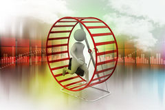 Man climbing the rotating wheel Stock Photography