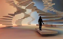 Man climbing a spiral stair. 3d render of man climbing a spiral stair Royalty Free Stock Images