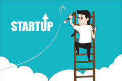 Man climbing stair entrepreneurship concept. Character design of business man climbing stair over cloud for reach the success. Start up and entrepreneurship Royalty Free Stock Photo