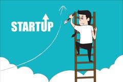 Man climbing stair entrepreneurship concept. Royalty Free Stock Photo
