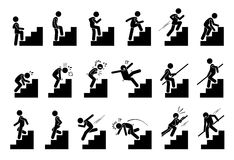 Man Climbing Staircase or Stairs Pictogram. Cliparts depict various actions of a person with stairs Stock Photo