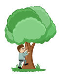 Man Climbing on a Tree Vector Illustration. Conceptual Drawing Art of Young Cartoon Man Trying to Climb Tree Vector Illustration Royalty Free Stock Photography