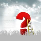 Man Climbing up the Question Mark Royalty Free Stock Image