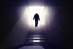 Man climbing up the stairs to reach opportunity. Render illustration Stock Photography