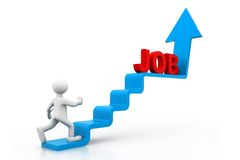 Man climbs the ladder of job. 3d man climbs the ladder of job Royalty Free Stock Photography