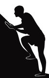 Man climbs a mountain. Black silhouette of guy climbs up, vector illustration royalty free illustration