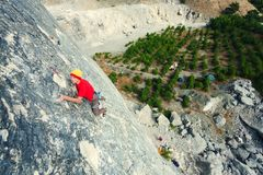 A man climbs the rock. Royalty Free Stock Photography