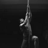 Man climbs ropa at gym Royalty Free Stock Photo