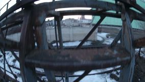 Man climbs the stairs of the old abandoned railway stock footage
