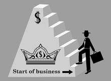 Man climbs the stairs of the pyramid. Start of business.  Black and white vector illustration Stock Image