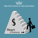 Man climbs the stairs of the pyramid. Start of business.  Vector illustration Stock Photos