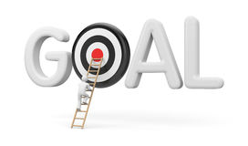 Man climbs to the stairs to the target goals. 3d illustration Stock Images