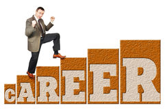 Man climbs up on a career ladder Stock Photo