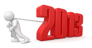 Man and 2013 (clipping path included) Royalty Free Stock Photos