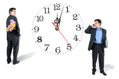 Man and clock Royalty Free Stock Images