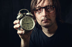 Man with the clock Royalty Free Stock Photography