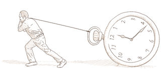 Man and clock. Illustration with a man and a clock Stock Photos