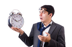 Man with clock afraid to miss deadline isolated Stock Photos