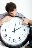 Man and clock Royalty Free Stock Photography