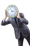 Man with clock isolated Stock Photo