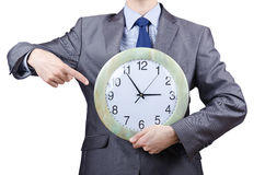 Man with clock isolated Royalty Free Stock Photography