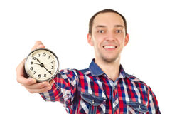 Man with clock Stock Photo