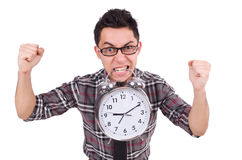 Man with clock trying to meet the deadline isolated Royalty Free Stock Photos