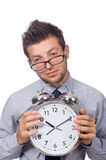 Man with clock trying to meet the deadline isolated Royalty Free Stock Image