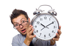 Man with clock trying to meet the deadline isolated Stock Image